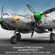 Lockheed P-38 Lightning - Glamour Puss II 3D Model