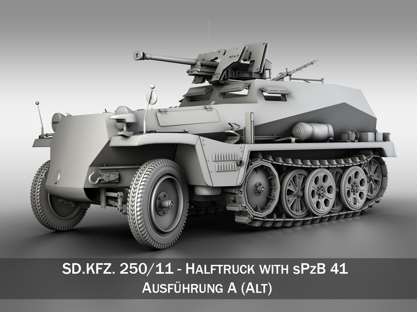 SD.KFZ 250/11 - Half-track with heavy anti-tank rifle. 3D Model