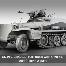 SD.KFZ 250/11 - Half-track with heavy anti-tank rifle. 3D Model