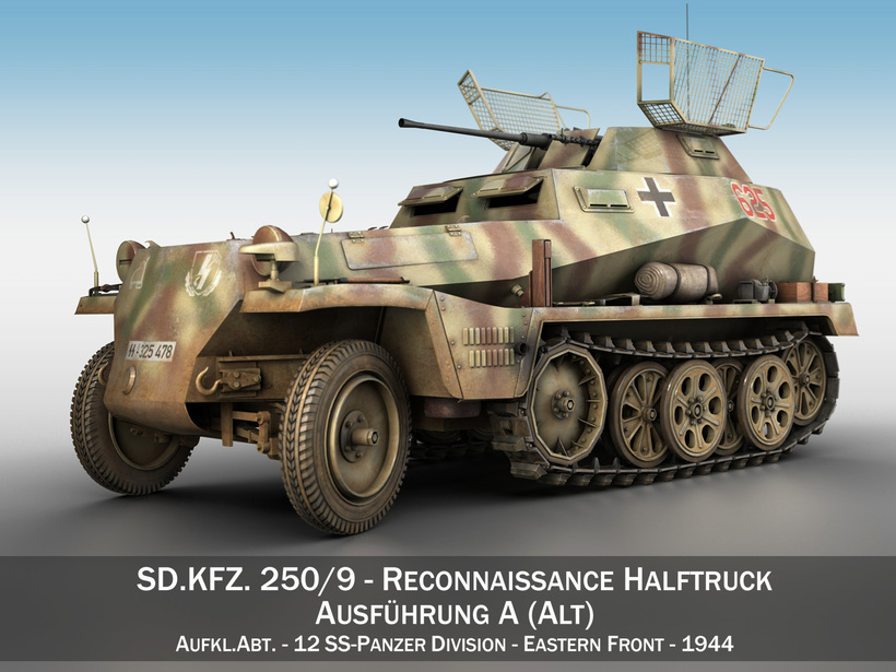SD.KFZ 250/9 - Reconnaissance Halftruck - 12 SS PzDiv 3D Model