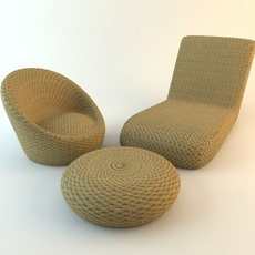 Wicker Chairs Ottoman 3D Model