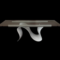 Contemporary Table with Glass Top 3D Model