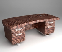 Zebrawood Executive Desk Double 3D Model