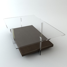 Contemporary Table Glass Top 2 3D Model