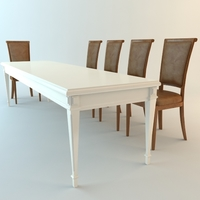 Low Poly Table and Chairs 3D Model