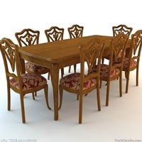 Dining Room Table and Chairs 3D Model