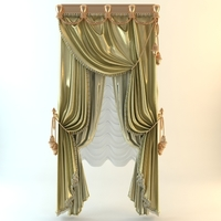 Elegant Baroque Curtains 3D Model