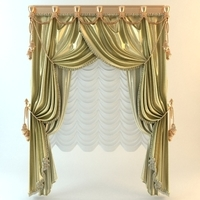 Elegant Baroque Wide Curtains 3D Model