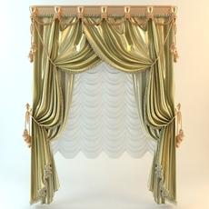 Elegant Baroque Wide Curtains 3D Model