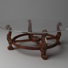 Round baroque table glass top 3D Model