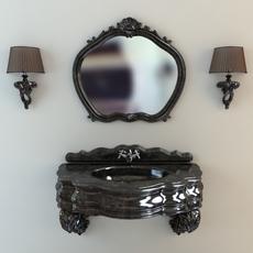Washbasin, mirror & sconces 3D Model