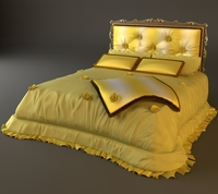 Padded Headboard Bed 3D Model