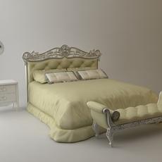 Headboard Bed & bench & nightstand & mirror 3D Model