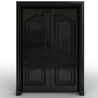 Black carved door 3D Model