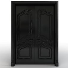 Black carved door 3D Model
