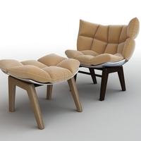 Armchair & Ottoman 3D Model