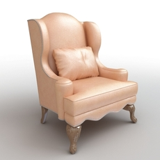 Club Armchair with Throw Pillow 3D Model