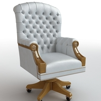 Classical white leather armchair 3D Model