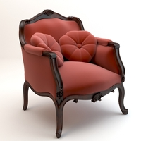 Red baroque armchair with pillows 3D Model