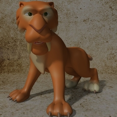 Cartoon Sabertooth Tiger RIGGED 3D Model