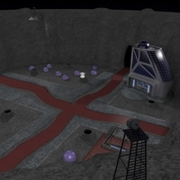 Space City in a Crater 3D Model