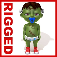 Halloween baby Cartoon Rigged 3D Model