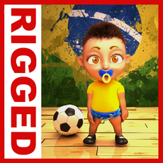 Brazilian football baby Cartoon Rigged 3D Model