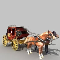 Carriage_and_Horse_01 3D Model