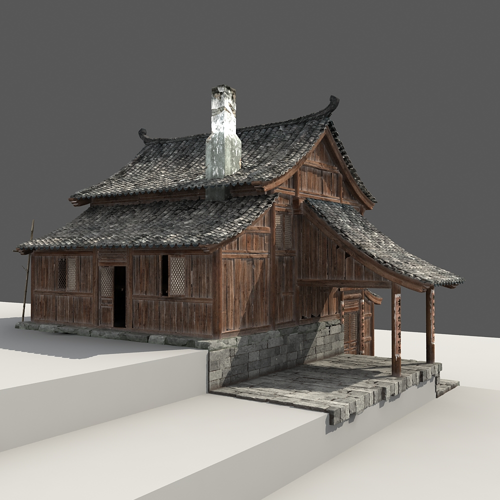 Chinese old wooden house 3d model for House 3d model