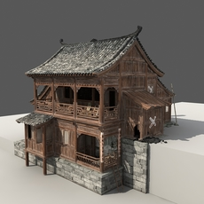 Chinese Old Wooden House 3D Model