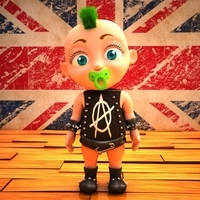 Punk baby Cartoon Rigged 3D Model