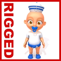 Sailor man baby Cartoon Rigged 3D Model