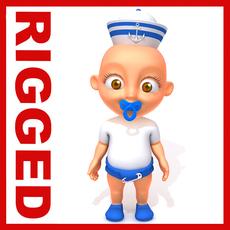 Sailor man baby Cartoon Rigged 3D Model