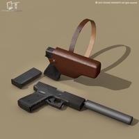 9mm handgun 3D Model