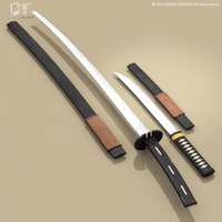 Katana and Wakizashi 3D Model