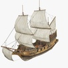 Old Battle Ship 3D Model