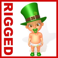 Leprechaun Baby Cartoon Rigged 3D Model