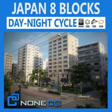 Japan 8 Blocks - 34 Buildings 3D Model