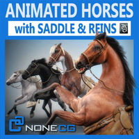 Horses Animated v2 3D Model