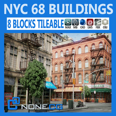 NYC - 8 Blocks - 68 Buildings 3D Model
