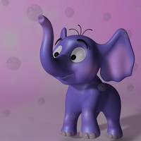 Cartoon baby elephant RIGGED 3D Model