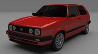 VW Golf Mk 2 3D Model