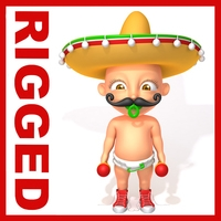 Mexican baby Cartoon Rigged 3D Model