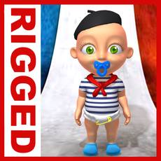 French baby Cartoon Rigged 3D Model