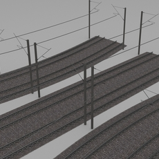 Electrified train line 3D Model