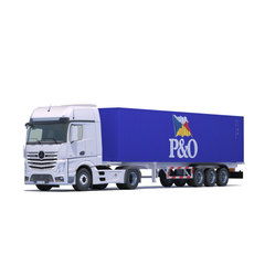 Actros MP4 with 10 Containers 3D Model