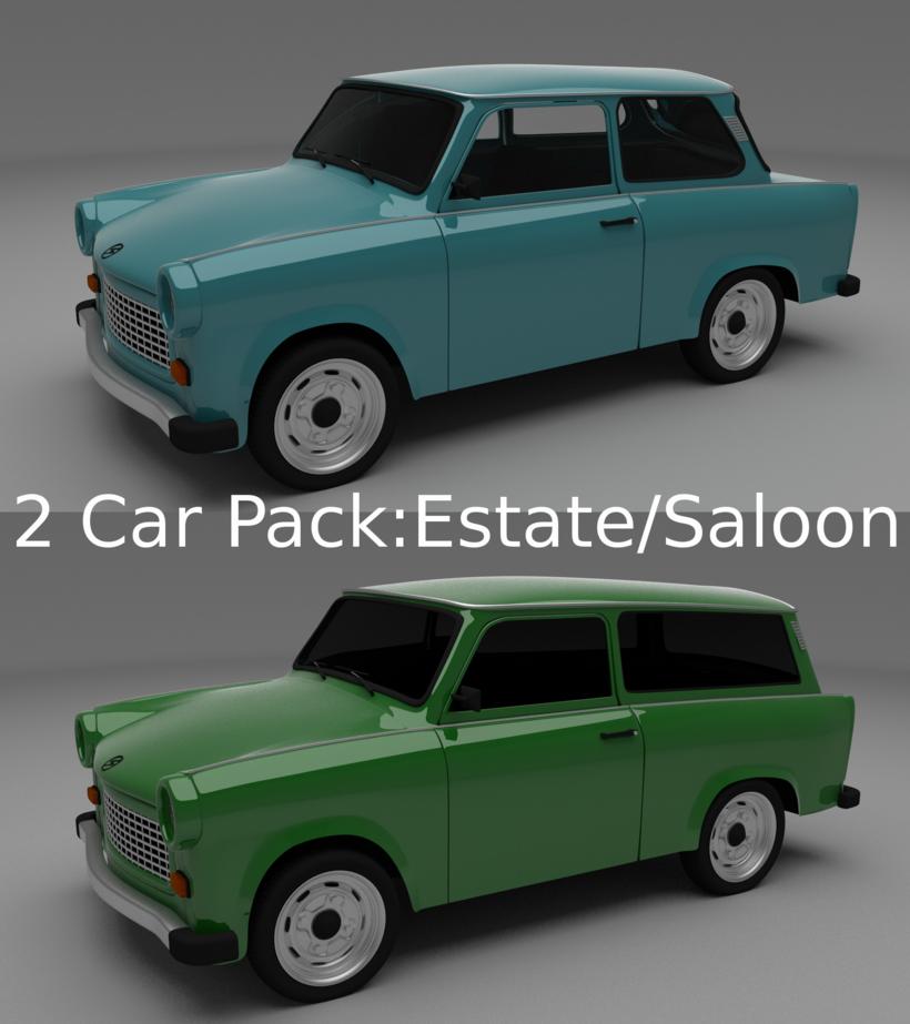 Trabant 601 estate/saloon pack 3D Model
