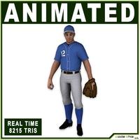 White Baseball Pitcher 8215 tris 3D Model