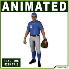 White Baseball Pitcher 8215 tris 3D Model