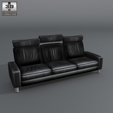 Space 3-seat sofa High-back 3D Model